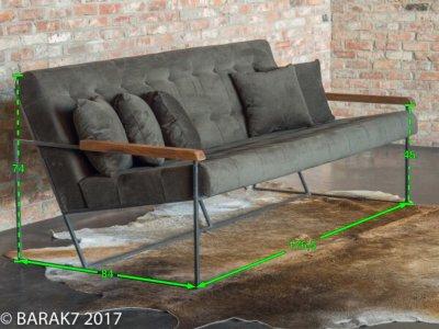 Canapé vintage 3 places en tissu kaki