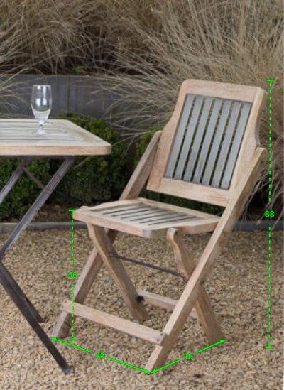 Chaise de jardin industrielle finition argent