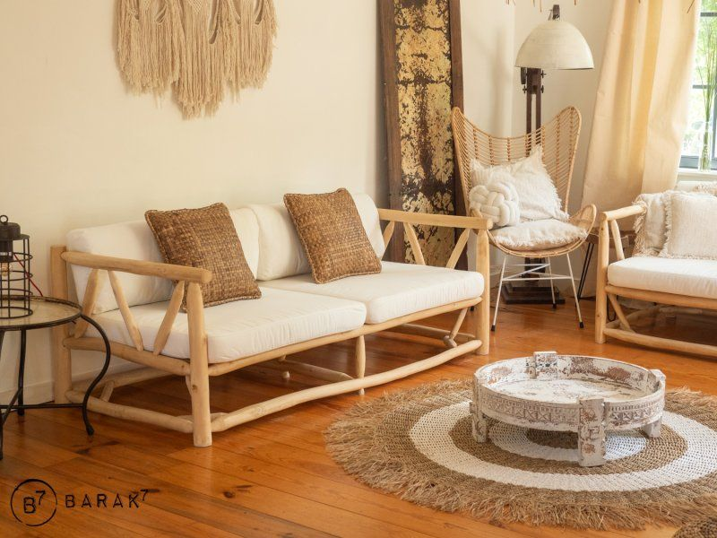 Canapé 3 places en branches de teck - bois flotté
