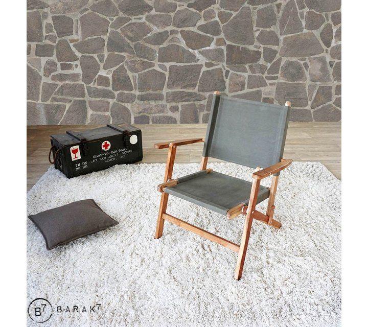 Lot de 2 chaises en teck et tissu outdoor PICNIC CHIC