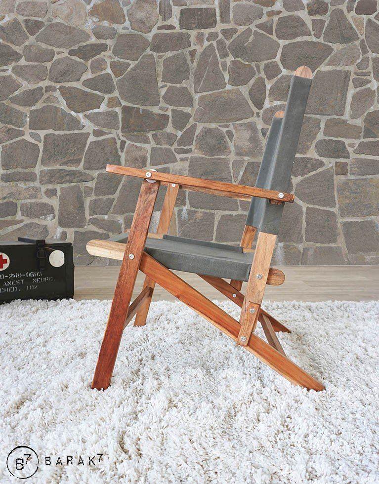 Fauteil teck et tissu outdoor PICNIC CHIC