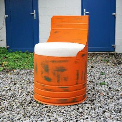 Fauteuil industriel bidon orange